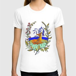 Doe And Fawn In Wildflowers T-shirt