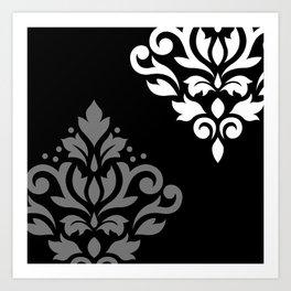Scroll Damask Art I Black Grey White Art Print
