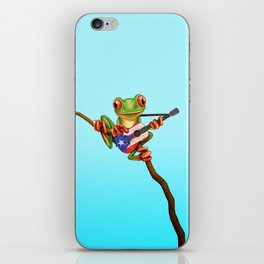 Tree Frog Playing Acoustic Guitar with Flag of Puerto Rico iPhone Skin
