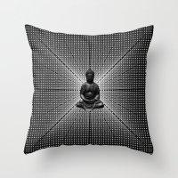 buddah Throw Pillows featuring Spacial Energy Buddah Mesh by Federico Sananes