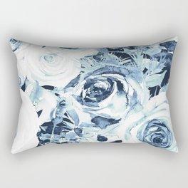 Blue White Winter Roses Rectangular Pillow