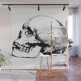 Side view of human skull illustration Wall Mural