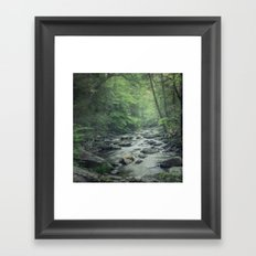 Misty Forest Stream Framed Art Print