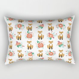 Autumn Fox florals cute bouquet foxy woodland kids baby gender neutral Rectangular Pillow