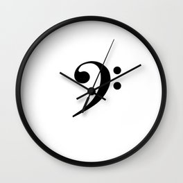 White and Black - Bass Clef Wall Clock