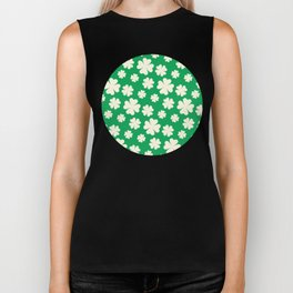 Off-White Four Leaf Clover Pattern with Green Background Biker Tank