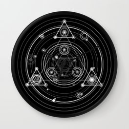 Dark and mysterious wicca style sacred geometry Wall Clock