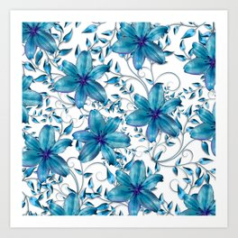 LILY AND VINES BLUE AND WHITE PATTERN Art Print