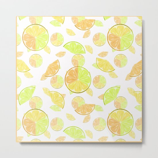 Abstract pattern with slices of citrus fruit . Metal Print