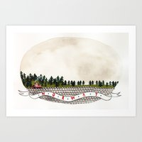 norway Art Prints featuring NORWAY by Bex Bourne