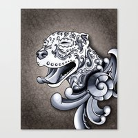 pit bull Canvas Prints featuring Ornamental Pit Bull by Pretty In Ink