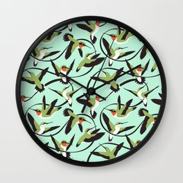 Hummingbirds with Ribbons Wall Clock