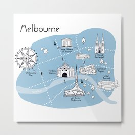 Mapping Melbourne - Blue Metal Print
