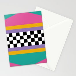 Checkered pattern grid / Vintage 80s / Retro 90s Stationery Cards
