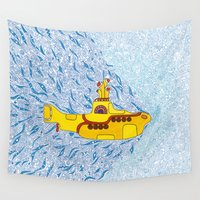 submarine Wall Tapestries featuring My Yellow Submarine by Cris Couto