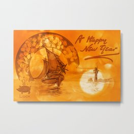 Vintage Bokeh Postcard - Happy New Year Metal Print