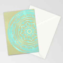 flower power: portobello aqua & olive Stationery Cards