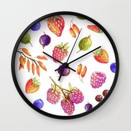 hand drawn oil berries Wall Clock