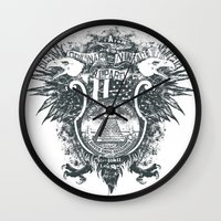 new order Wall Clocks featuring New World Order by Tshirt-Factory