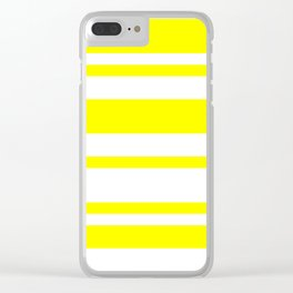 Mixed Horizontal Stripes - White and Yellow Clear iPhone Case