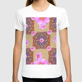 Quilted Style Fuchsia Pink Wild Rose  Grey Pattern Abstract T-shirt
