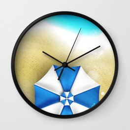 Couple of umbrellas on the beach, graphic art Wall Clock