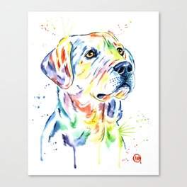 Yellow Lab Colorful Watercolor Painting - Puppy Star Canvas Print