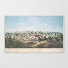Vintage Pictorial Map of Staunton VA (1857) Canvas Print