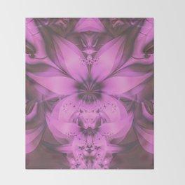 Pretty in Pink Fractal Flower Star-Shaped Petunias Throw Blanket