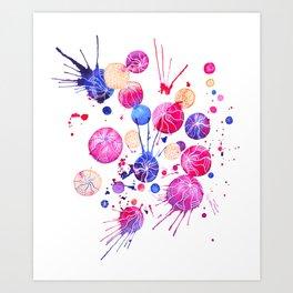 Colored watercolor circle composition. Art Print