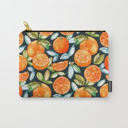 Oranges On Navy Carry-All Pouch