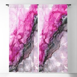 Pink Divide: Original Abstract Alcohol Ink Painting Blackout Curtain