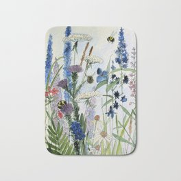 Wildflower in Garden Watercolor Flower Illustration Painting Bath Mat