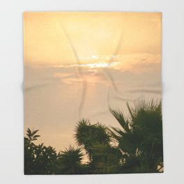 cloudy sky in the oasis Throw Blanket