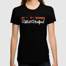 Vintage West Hartford Connecticut Sunset Skyline T-Shirt T-shirt