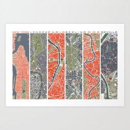 Six cities: NYC London Paris Berlin Rome Seville Art Print