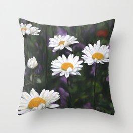 Garden Daisies Throw Pillow