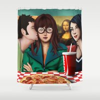 daria Shower Curtains featuring Daria with Pizza and Friends by Artik