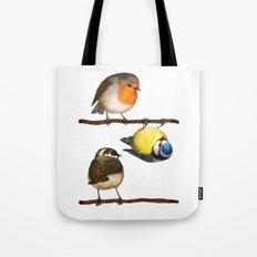 Three Little Birbs - Brown Tote Bag