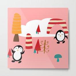 Oriana Penguin pink Metal Print