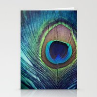 peacock feather Stationery Cards featuring Peacock Feather by KunstFabrik_StaticMovement Manu Jobst