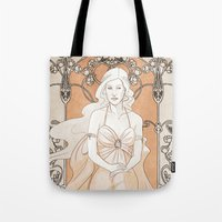 daenerys Tote Bags featuring Khalisi Art Nouveau by IdentityPollution