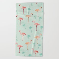 Flamingos and palm trees Beach Towel