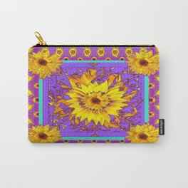 Lilac Purple & Yellow Sunflowers Abstract Garden Design Carry-All Pouch