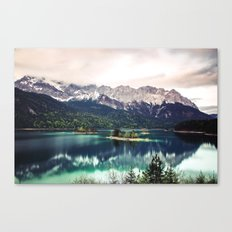 Green Blue Lake and Mountains - Eibsee, Germany Canvas Print