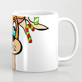 Spud the Christmas Reindeer with Candy Canes by Rosalie Coffee Mug