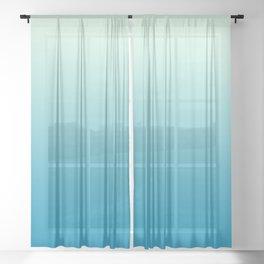 Ombre Hawaiian Ocean Blue Sea Green Gradient Motif Sheer Curtain