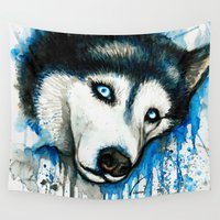 husky Wall Tapestries featuring Husky by Villarreal
