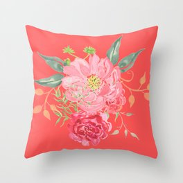 Pink Floral Watercolor Throw Pillow