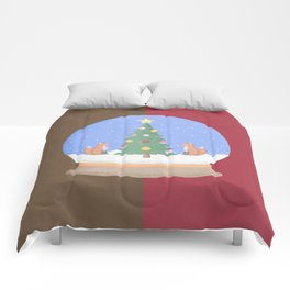 Snow Globe Christmas Tree Foxes Comforters